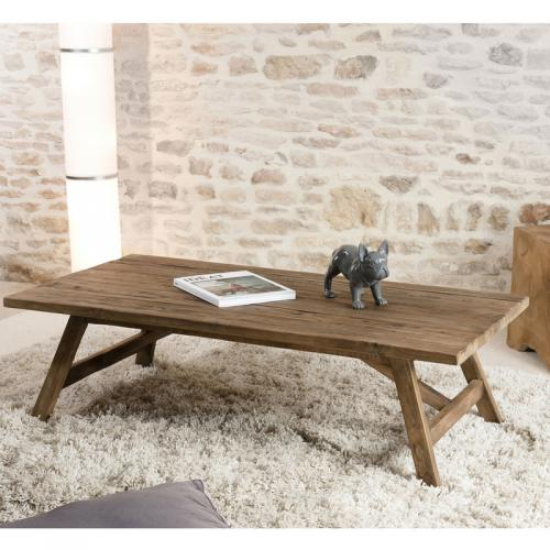 3 SUISSES - Table basse rectangulaire en teck recyclé 120 x 60 cm Scandi - Brun - Le salon