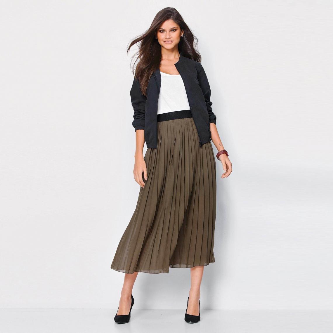 62d5607b705c02 Jupe longue plissée taille élastique femme - Kaki | 3 SUISSES