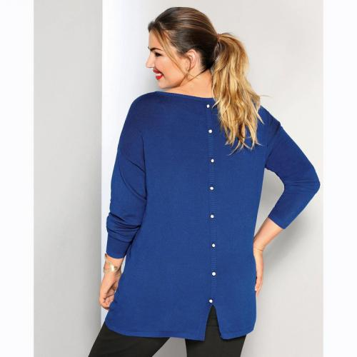 3 SUISSES - Pull manches longues boutons fantaisie dos femme - Bleu Dur - Mode Grande Taille