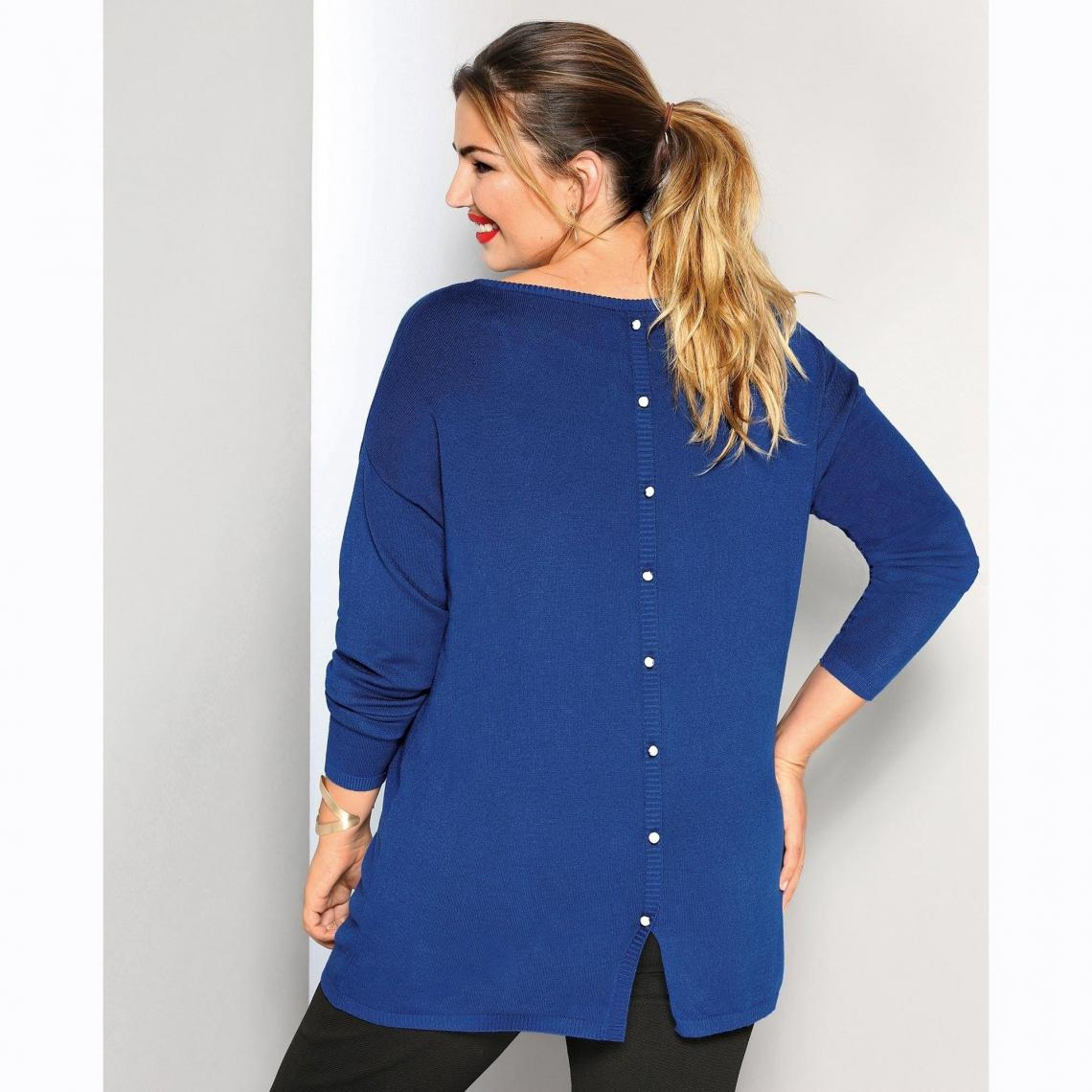 Pull Fantaisie Bleu Suisses Femme Longues Dos Manches Dur3 Boutons 9DHIE2
