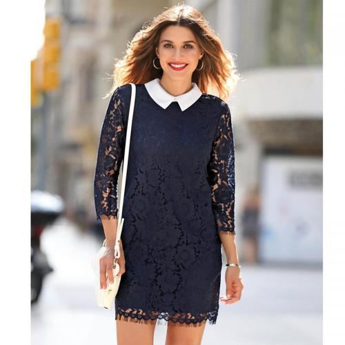 grande vente 9cc55 16487 Robe courte manches 3/4 bas ondulés femme - Bleu Marine