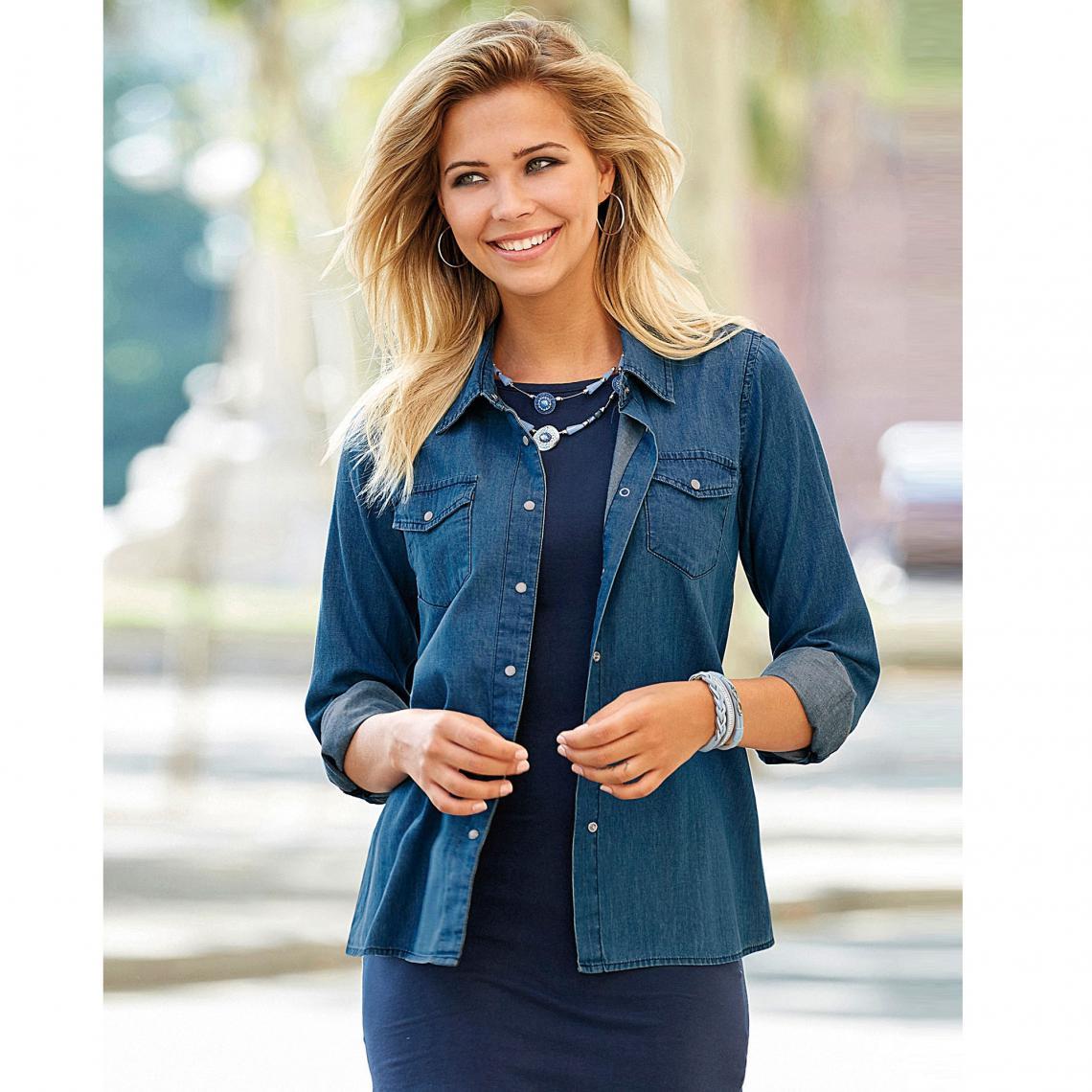 Chemise en jean à pressions manches longues femme Bleu 3 Avis Plus de détails