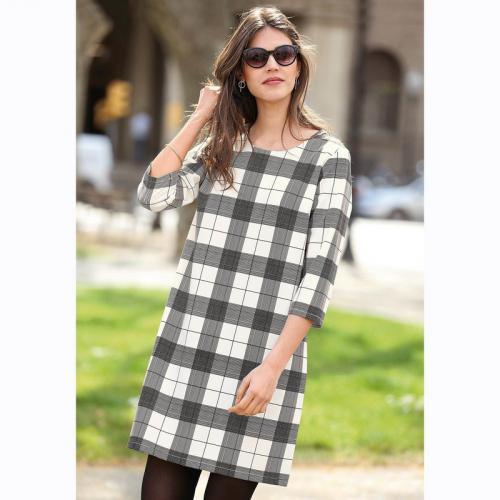 a74aab3e493d 3 SUISSES - Robe courte manches 3 4 à carreaux femme - Carreaux Noir -