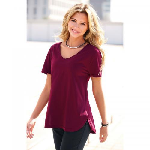 505329b0603c 3 SUISSES - Tee-shirt col V manches courtes bas arrondi femme - Rouge Grenat