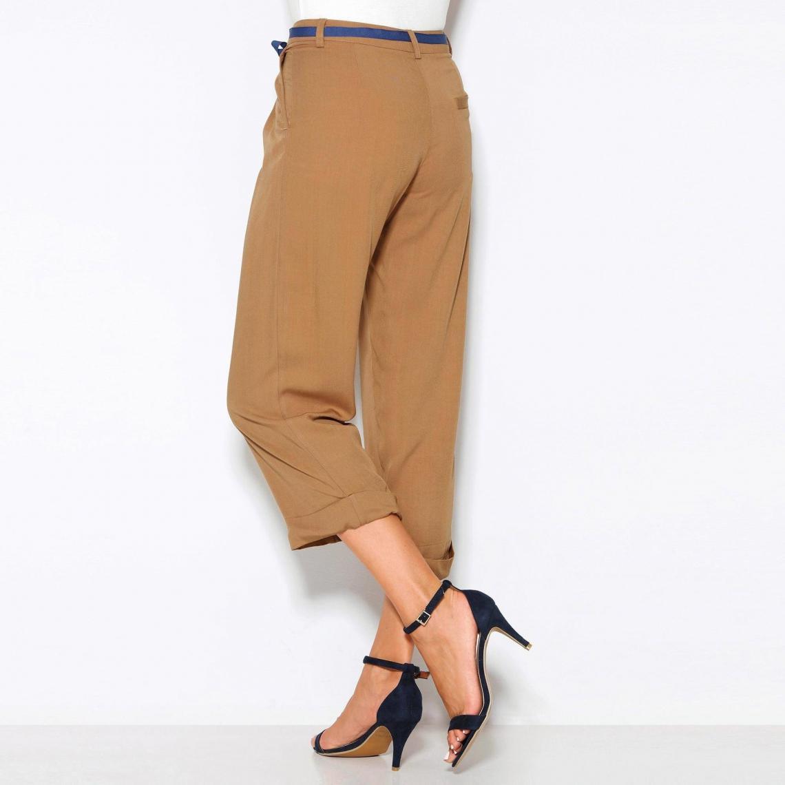 Et Pinces Ruban Pantalon Suisses Ceinture Femme Revers Camel3 À 92WDEIH
