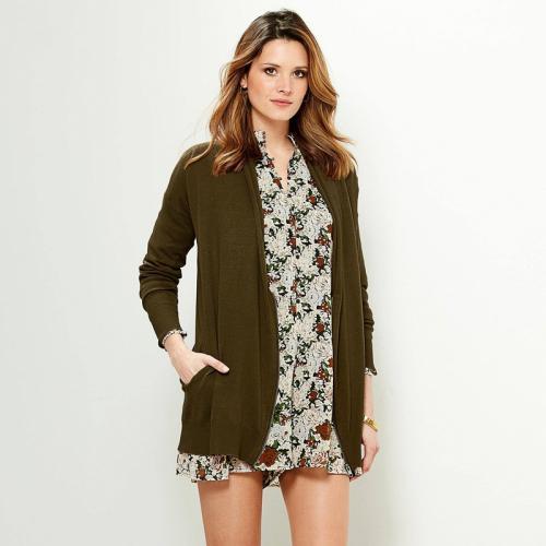 55b039c39656d 3 SUISSES - Gilet zippé manches longues et poches femme - Kaki - Mode  Grande Taille