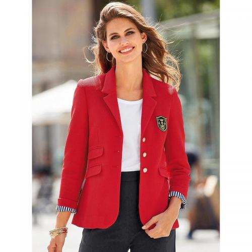 51e6687e58d5 3 SUISSES - Veste cintrée et doublée manches longues femme - Rouge - Vestes blazers  femme