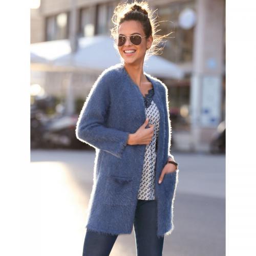 b3e157774e0c 3 SUISSES - Gilet tricot poils longs manches longues poches plaquées femme  - Bleu - Gilets