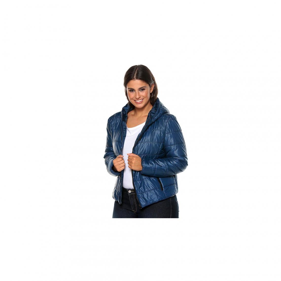 1c9d64b84a8 Anorak matelassé zippé à capuche et poches manches longues femme - Bleu  Indigo 3 SUISSES Femme