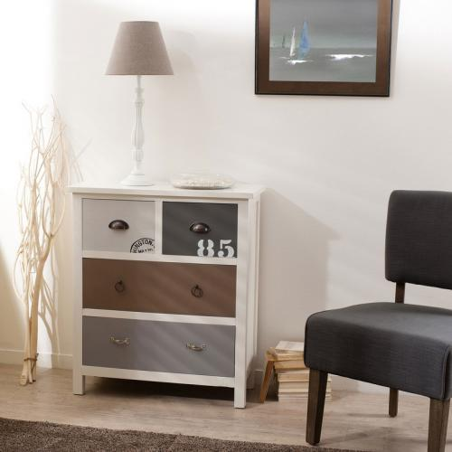 Macabane - Commode 4 tiroirs style bord de mer - Multicolore - Dressing & rangement