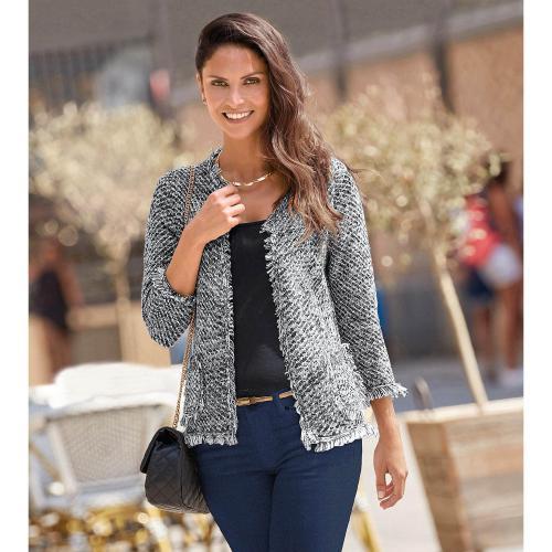 b231f782f4ea 3 SUISSES - Veste en tricot fantaisie franges femme - Beige - Gilets femme