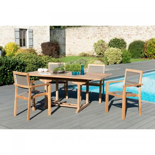 MACABANE - Ensemble table rectangulaire extensible + 4 fauteuils empilables en teck massif et textile - Teck - Ensemble table, chaise