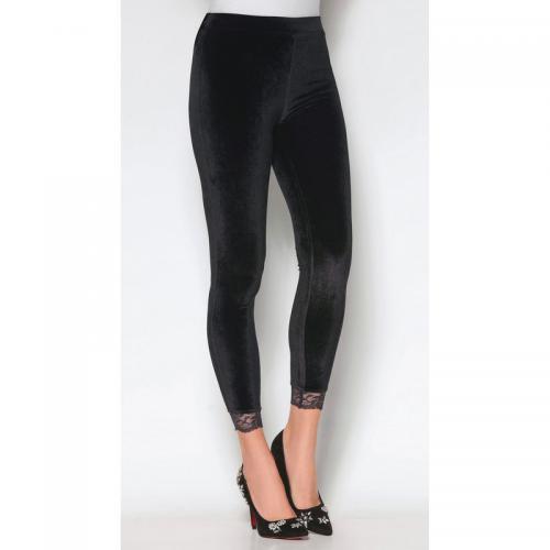 3 SUISSES - Legging en velours taille élastique dentelle bas femme  exclusivité 3 SUISSES - Noir ef262fe01f0