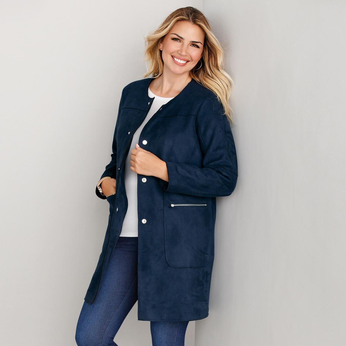 fd5c421271b Manteau à pressions poches zippées et col rond grandes tailles femme - Bleu  Marine 3 SUISSES