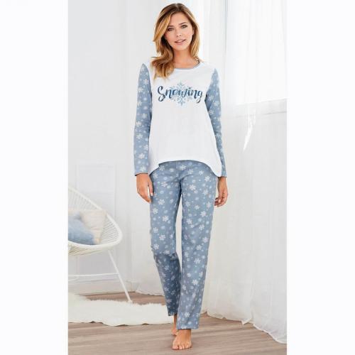 11b979903c0ae 3 SUISSES - Pyjama manches longues et pantalon imprimés femme - Bleu - Écru  - Ensembles