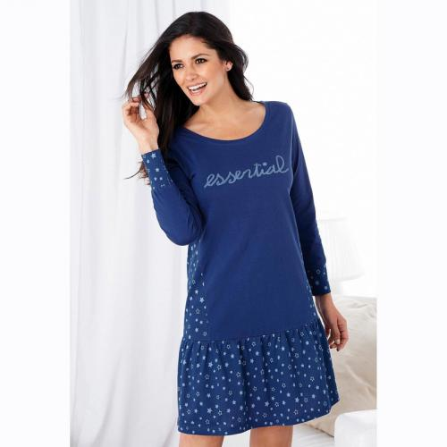 b21818958778f 3 SUISSES - Chemise de nuit froncée manches longues femme - Bleu - Nuisettes