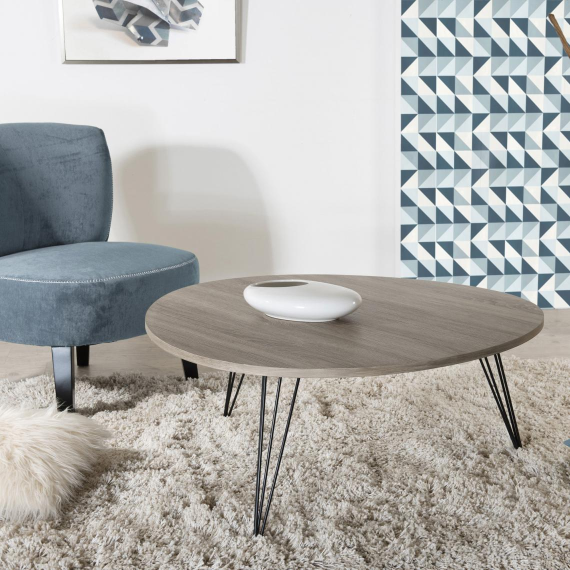 table basse ronde pieds m tal blanc 3 suisses. Black Bedroom Furniture Sets. Home Design Ideas
