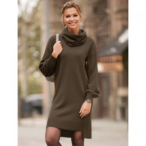 b9e7191c41497 3 SUISSES - Robe courte en tricot fendue manches longues et col amovible  femme - kaki