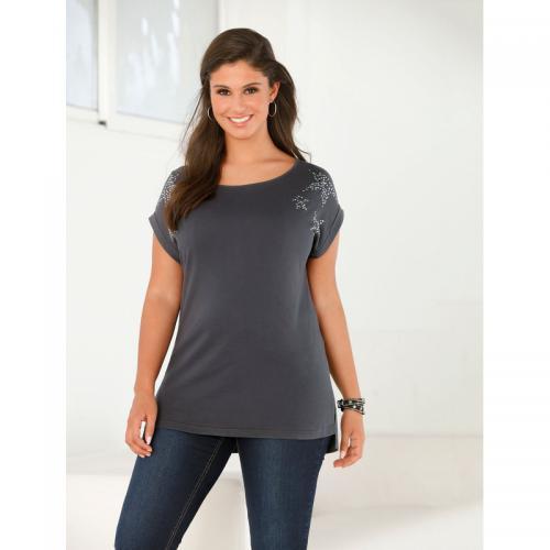 3 Suisses - Tee-shirt fendu manches courtes et punaises grandes tailles femme  exclusivité 3Suisses c5d65f2d9259