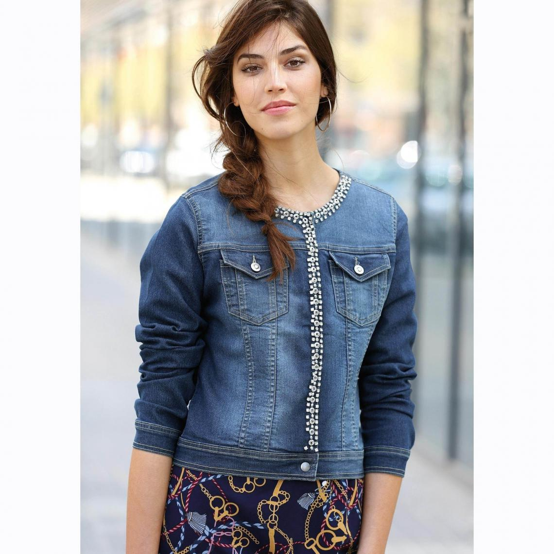 veste en jean manches longues pierres femme denim fonc 3 suisses