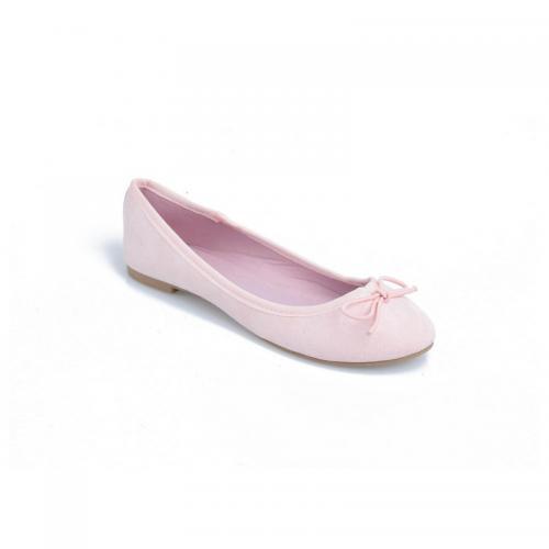 2cc0066b0b4ce 3 SUISSES - Ballerines plates avec noeud sur dessus femme - Rose Pâle -  Chaussures femme