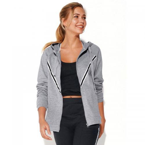 44cf74bbf006f 3 Suisses - Sweat fitness zippé à capuche manches longues poches femme  Exclusivité 3SUISSES - gris