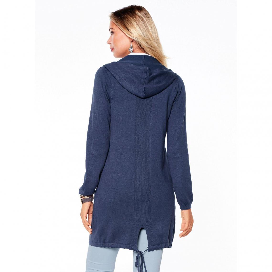 Gilet à capuche et cordon sur bas du dos femme - Bleu Nuit Ha6ka