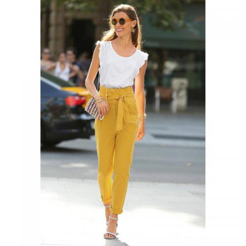 3 SUISSES - Pantalon ceinture à nouer pinces et poches femme - Jaune -  Pantalons larges ad9f251c99a