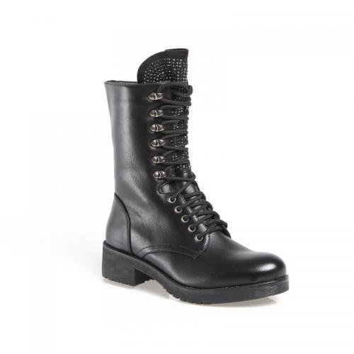 94b9990d130 3 SUISSES - Bottines zippées à lacets et pierres fantaisie femme - Noir -  Boots femme