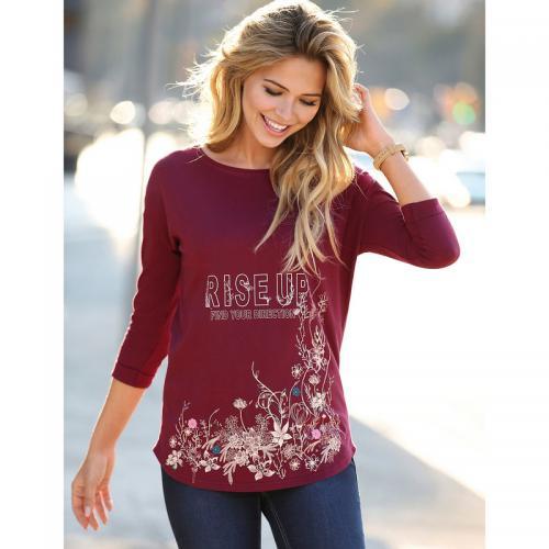 56d81539cde7 3 SUISSES - Tee-shirt manches 3 4 imprimé floral devant femme - Rouge