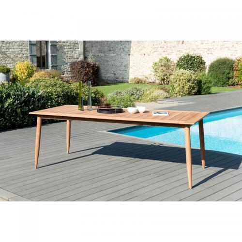 Table de jardin rectangulaire avec pieds scandinaves en teck massif - Teck