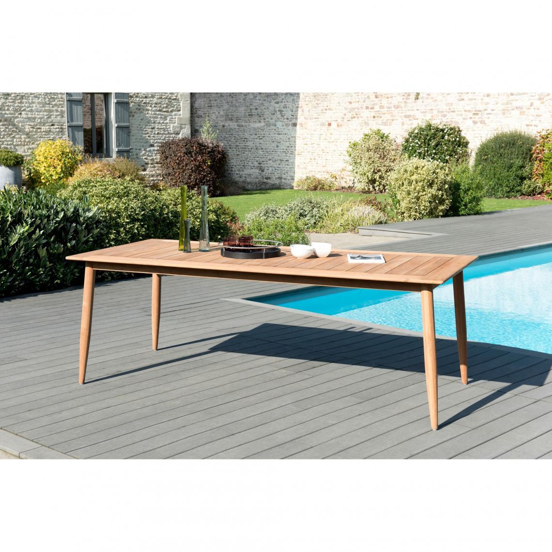 Table de jardin rectangulaire avec pieds scandinaves en teck ...