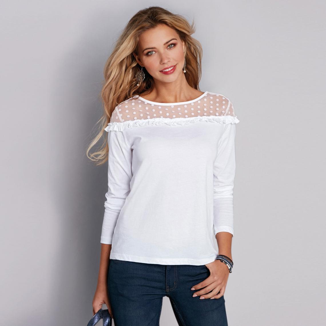 2f3db9acc14 Tee-shirt manches longues volant et plumetis femme - Blanc 3 SUISSES Femme