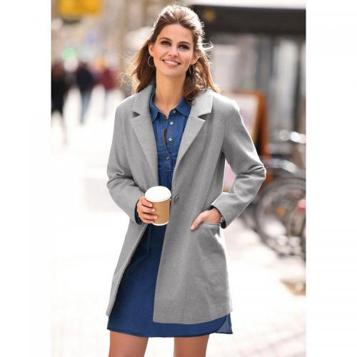 234736c0c4ac 3 SUISSES - Manteau doublé manches longues et épaulettes femme - Gris Chiné  Clair - Manteaux