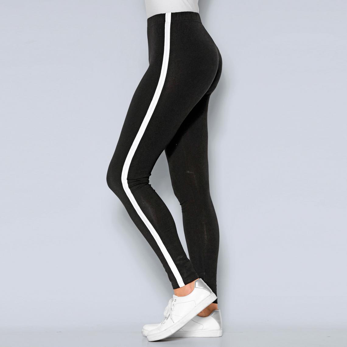 Legging taille élastique empiècements contrastés latéraux femme Noir 1 Avis Plus de détails