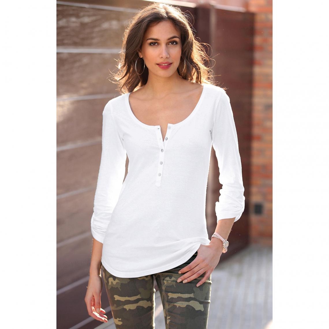 Manches Nacre Longues Tee Shirt Blanc3 Femme En Suisses Boutons pULSzMGqV
