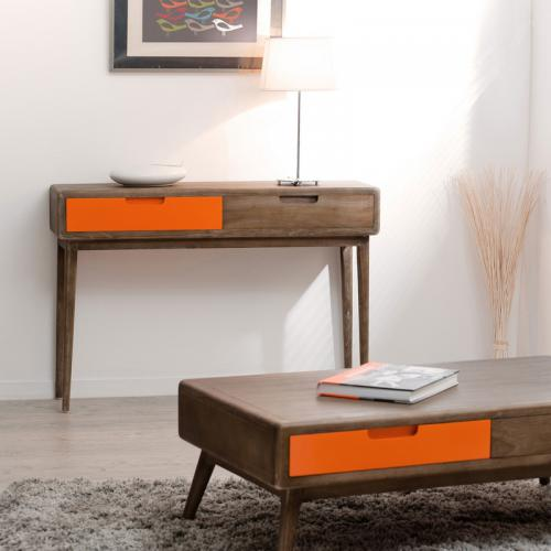 3 SUISSES - Console rectangulaire 2 tiroirs - Marron - Orange - Salon
