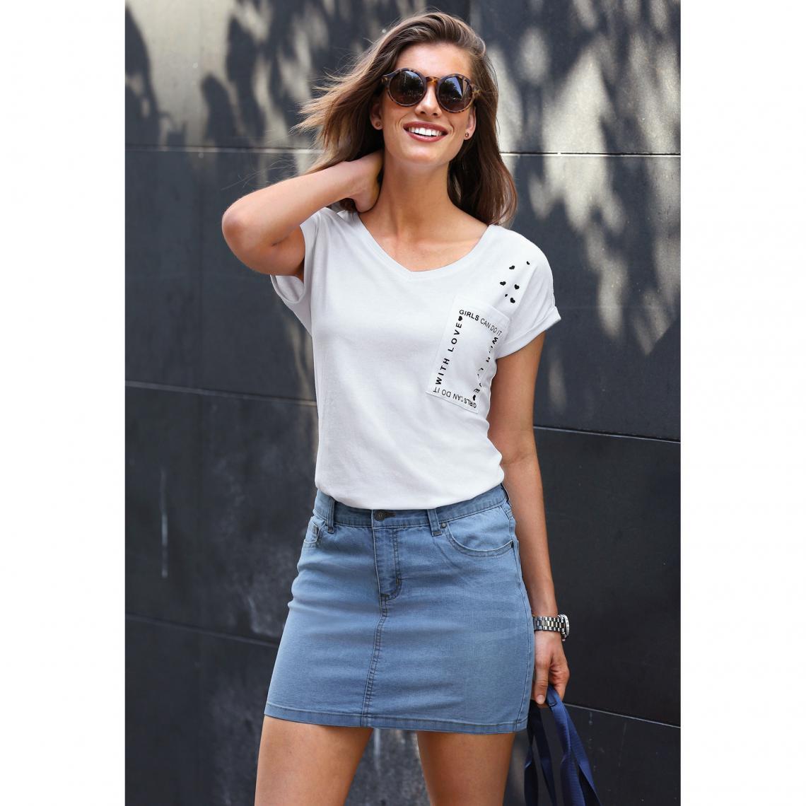 Jupe courte en jean coupe 5 poches femme Bleu 1 Avis Plus de détails