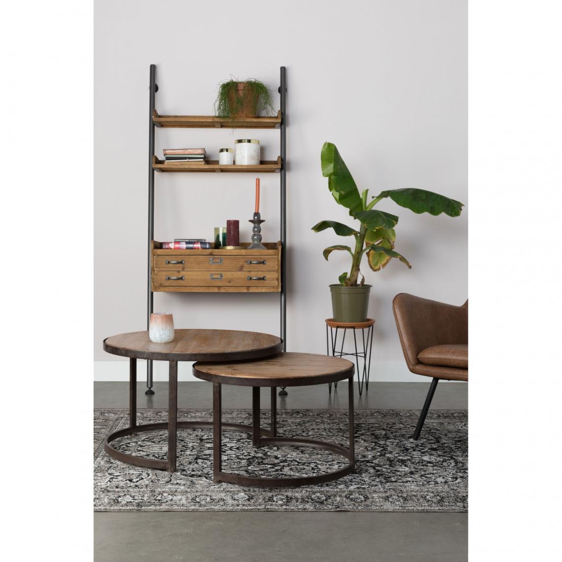 set de 2 tables basses gigogne rondes en bois et m tal. Black Bedroom Furniture Sets. Home Design Ideas