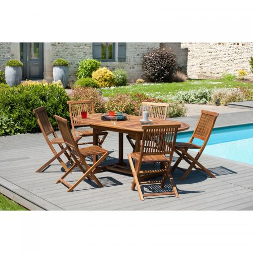 MACABANE - Ensemble table ovale extensible + 6 chaises pliantes en teck huilé Java - Teck - Ensemble table, chaise