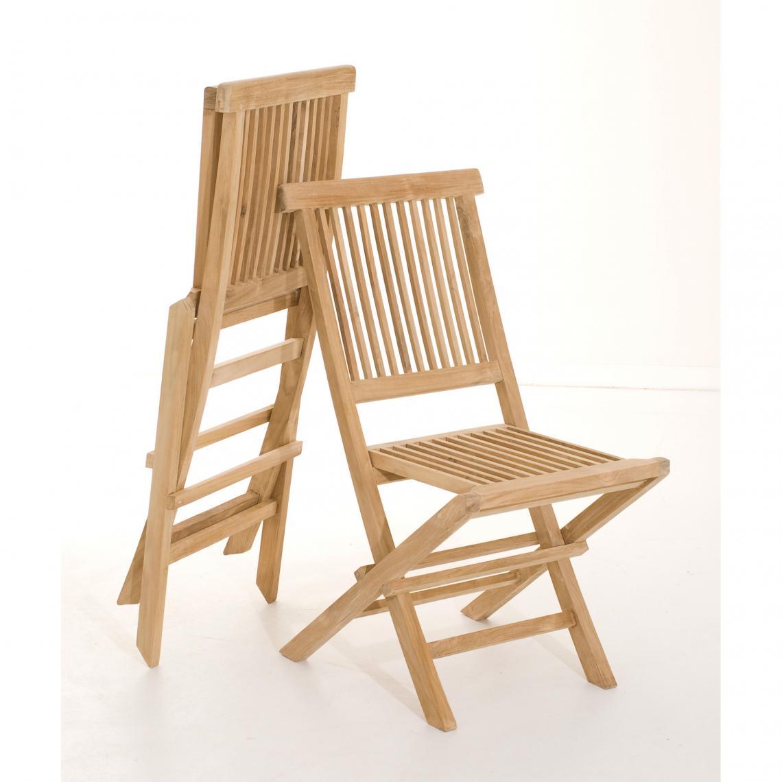 Ensemble de 6 chaises de jardin Java en bois Teck  6 SUISSES