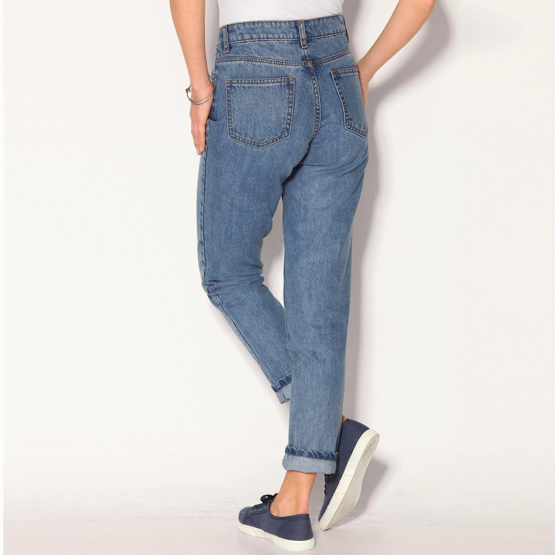 Jean boyfriend 5 poches taille haute femme Blue Denim | 3