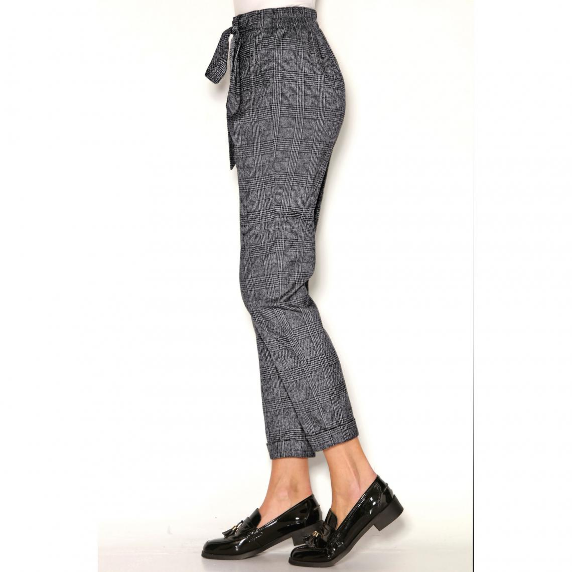Pantalon à carreaux taille haute et ceinture à nouer femme ... 7da7a28d997