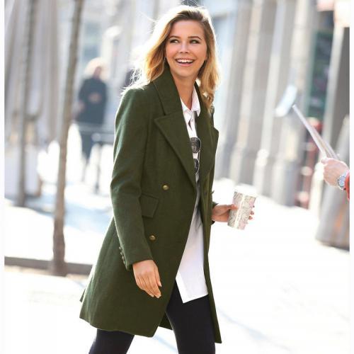 1e30d32425d3 3 SUISSES - Manteau croisé fendu et doublé femme - Vert - Manteaux femme