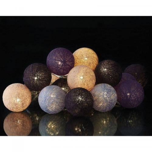 3S. x Home - Guirlande BONGI lumineuse boules multicolores - Violet - Décoration lumineuse