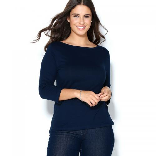 3 SUISSES - Tee-shirt col bateau manches 3/4 femme - Bleu Marine - Mode Grande Taille