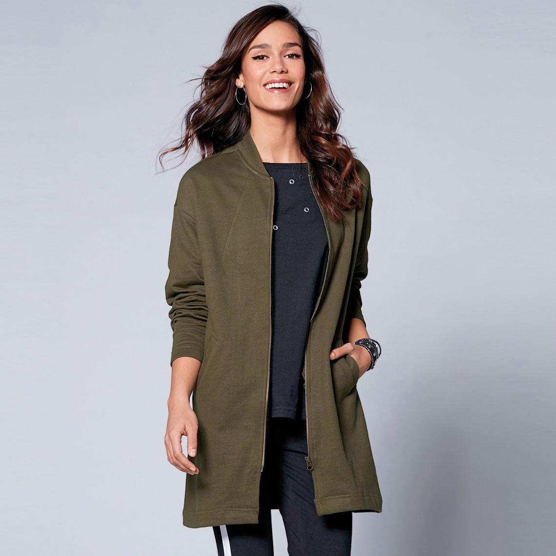 Manteau zippé col rond manches longues et poches - 3 SUISSES - Modalova
