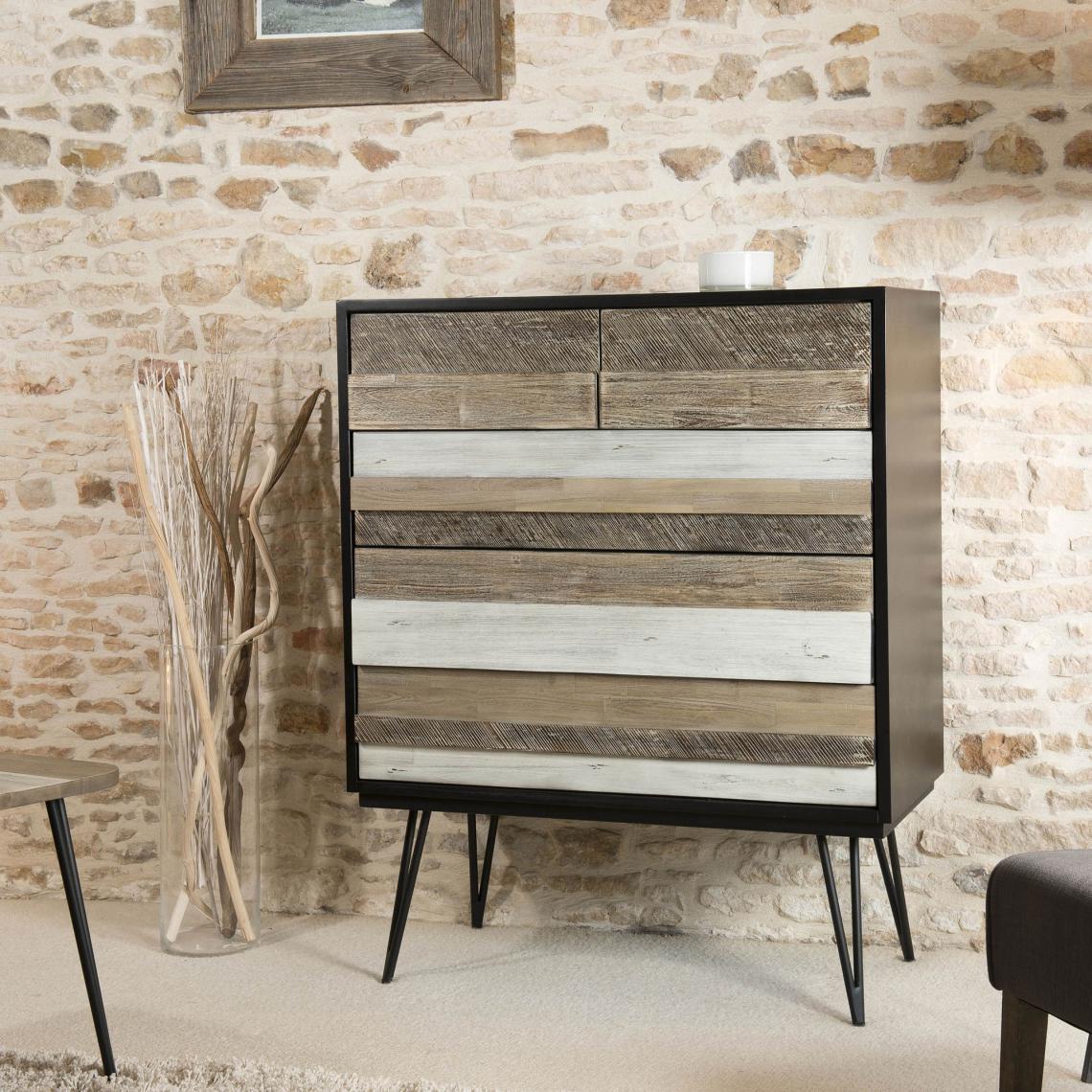 Commode Chambre Style Industriel commode 5 tiroirs pieds épingle style industriel - multicolore plus de  détails