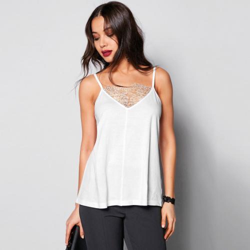 11a1e2be27f7 3 SUISSES - Tee-shirt à bretelles col en V avec dentelle femme - Blanc