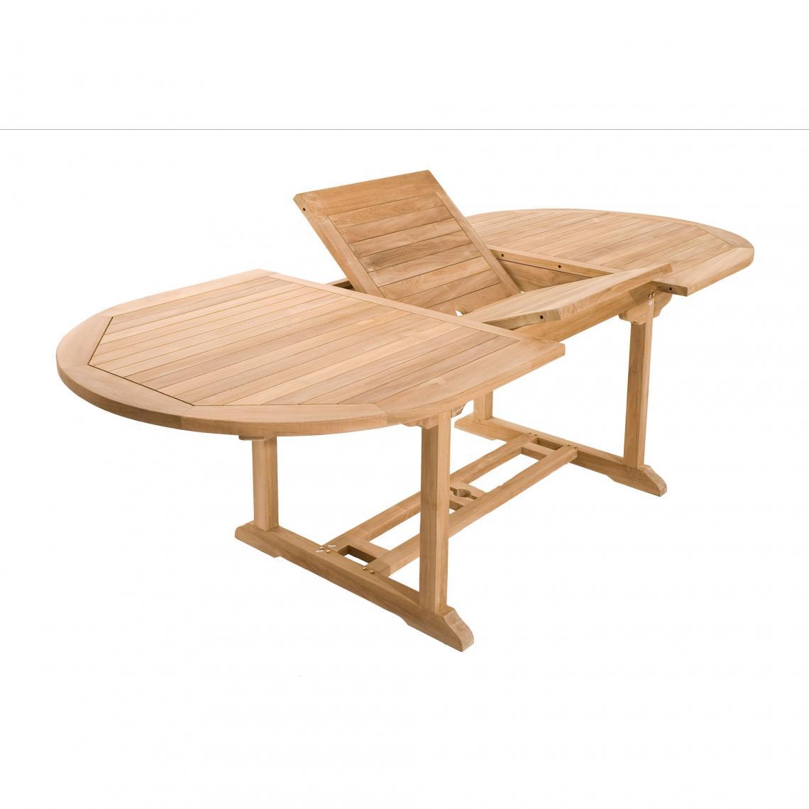 Table ovale extensible 8/10 personnes en teck massif - Teck ...